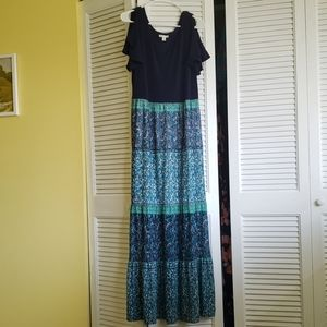Blue maxi dress with cold shoulder sleeves.
